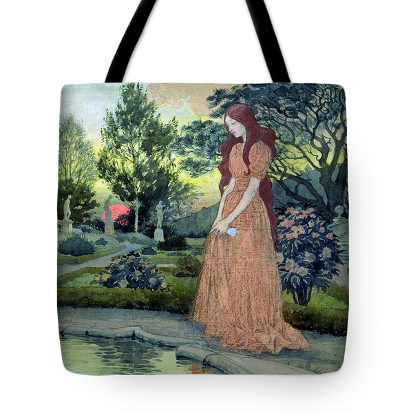 Young Girl In A Garden  Tote Bag by Eugene Grasset