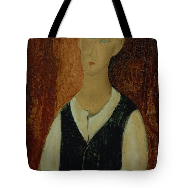 Young Man With A Black Waistcoat Tote Bag by Amedeo Modigliani