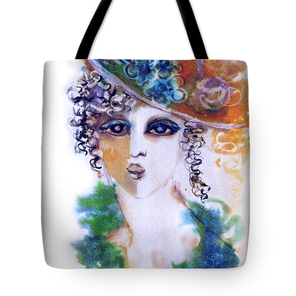 Young Woman Face With Curls In Blue Green Dress Purple Hat With Flower  Tote Bag by Rachel Hershkovitz