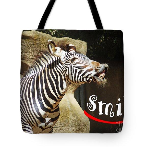 Zebra Smile Tote Bag by Methune Hively