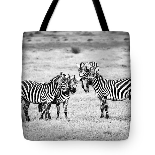 Zebras In Black And White Tote Bag by Sebastian Musial