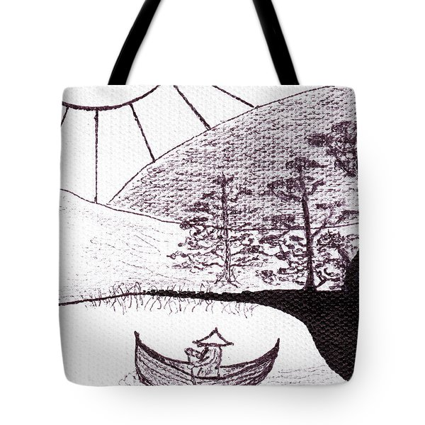 Zen Sumi Asian Lake Fisherman Black Ink On White Canvas Tote Bag