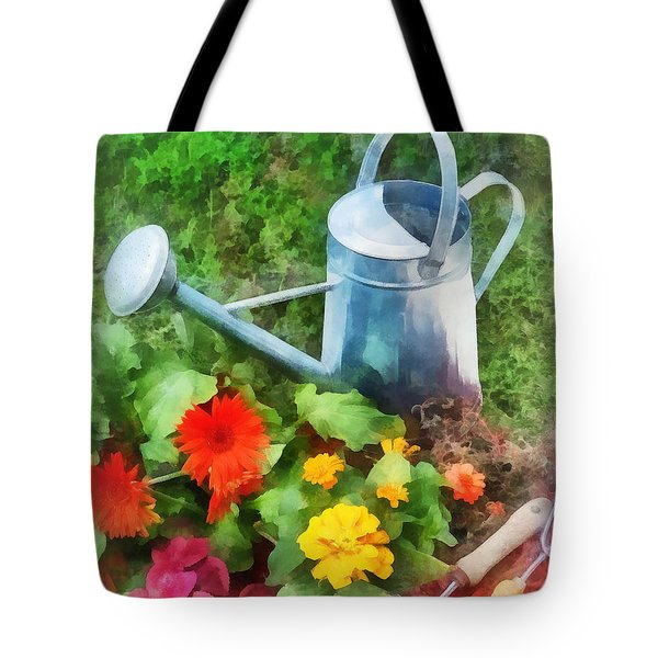 Zinnias And Watering Can Tote Bag by Susan Savad