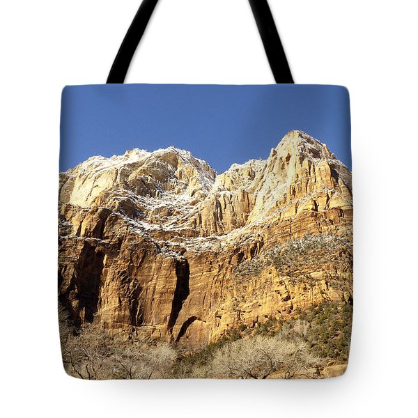 Tote Bag featuring the photograph Zion Cliffs by Bob and Nancy Kendrick