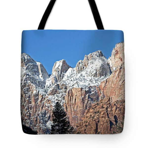 Tote Bag featuring the photograph Zion Towers by Bob and Nancy Kendrick