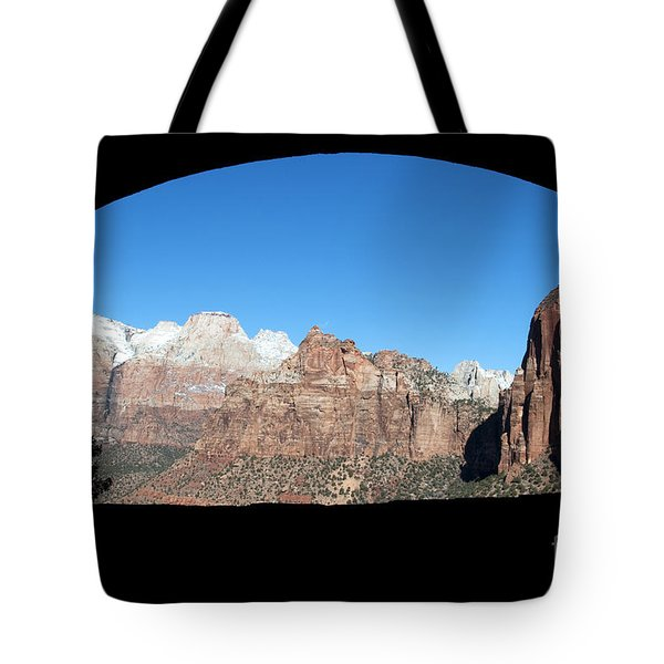 Tote Bag featuring the photograph Zion Tunnel View by Bob and Nancy Kendrick
