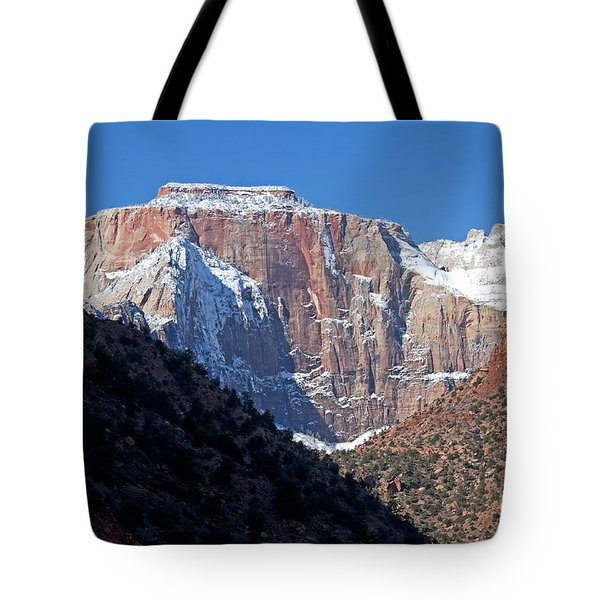 Tote Bag featuring the photograph Zion's West Temple by Bob and Nancy Kendrick
