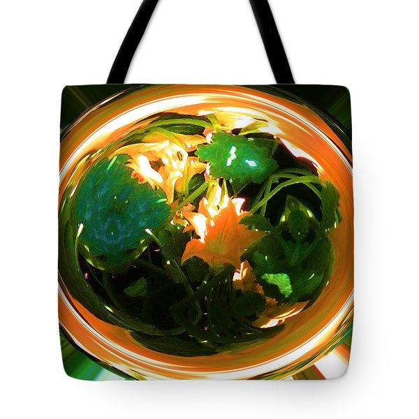 Tote Bag featuring the photograph Zucchini Flowers Under Glass by George Pedro