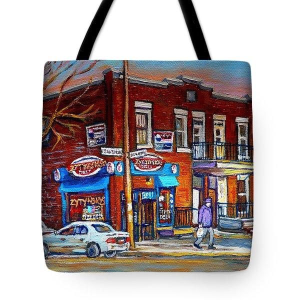 Zytynsky's Deli Montreal Tote Bag by Carole Spandau