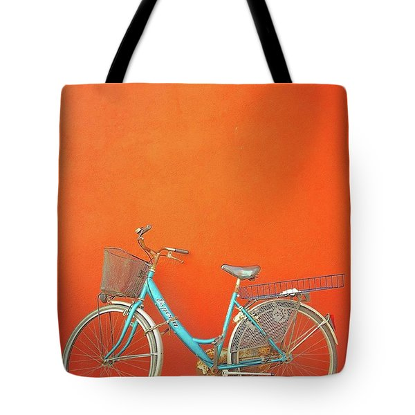 Blue Bike In Burano Italy Tote Bag by Anne Hilde Lystad