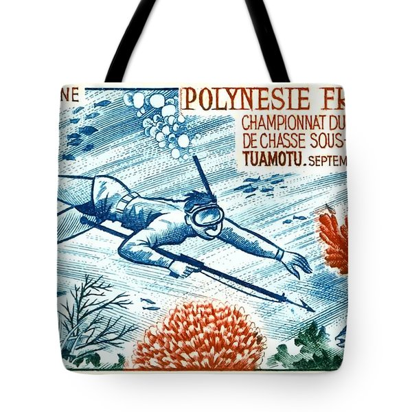 1965 French Polynesia Spearfishing Postage Stamp Tote Bag