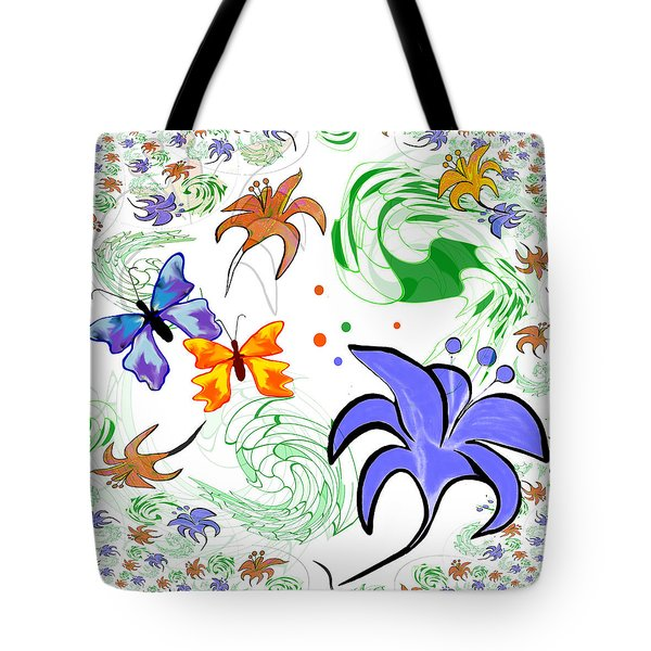 556 - Flowers And Butterflies Tote Bag by Irmgard Schoendorf Welch