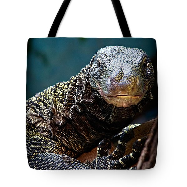 Tote Bag featuring the photograph  A Crocodile Monitor Portrait by Lana Trussell