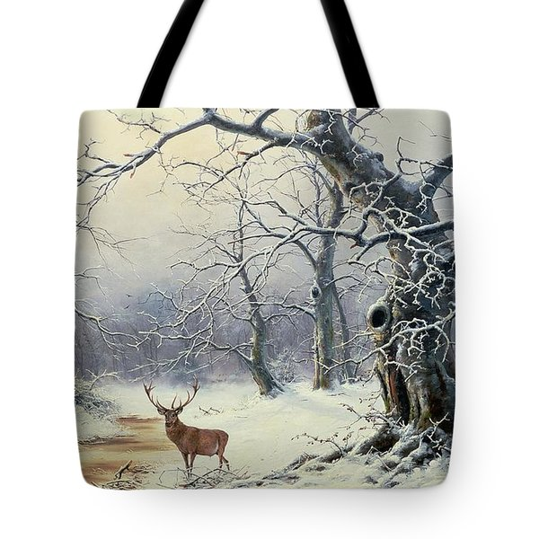 A Stag In A Wooded Landscape  Tote Bag by Nils Hans Christiansen