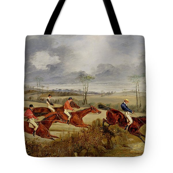 A Steeplechase - Near The Finish Tote Bag by Henry Thomas Alken