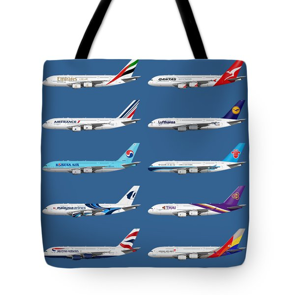 Airbus A380 Operators Illustration - Blue Version Tote Bag
