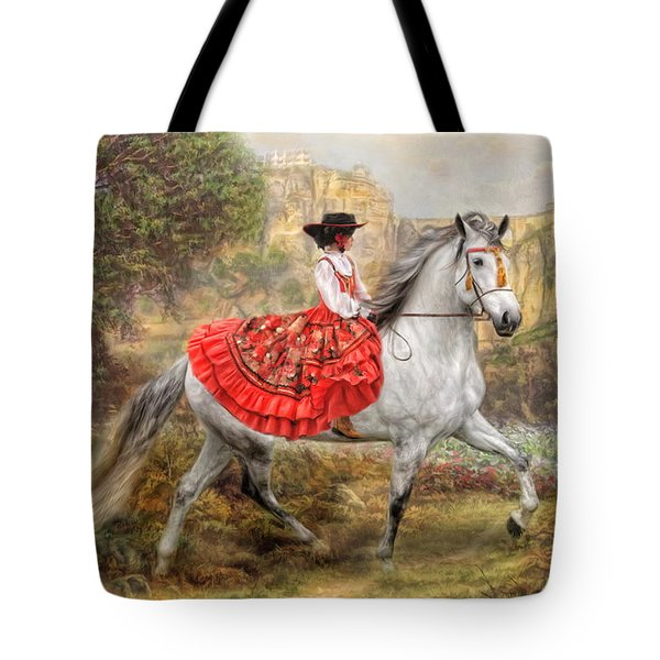 Tote Bag featuring the digital art  Andalusia by Trudi Simmonds