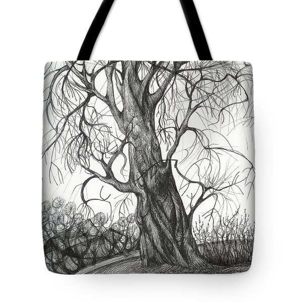 Tote Bag featuring the drawing  Autumn Dancing Tree by Anna  Duyunova