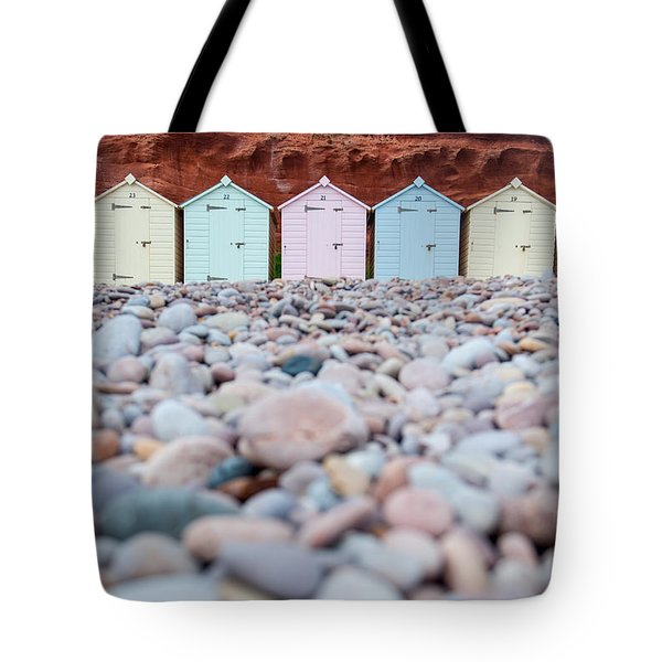 Beach Huts And Pebbles Tote Bag