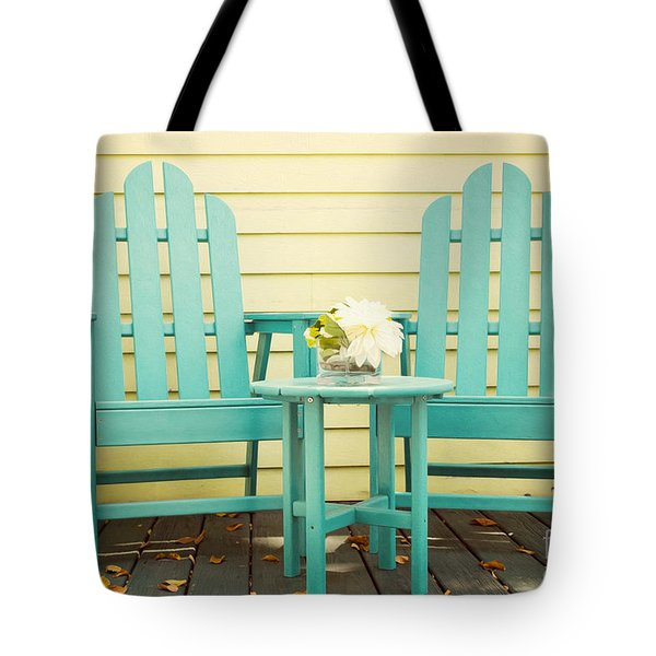 Blue Adirondack Chairs  Tote Bag