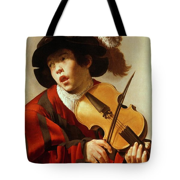 Boy Playing Stringed Instrument And Singing Tote Bag