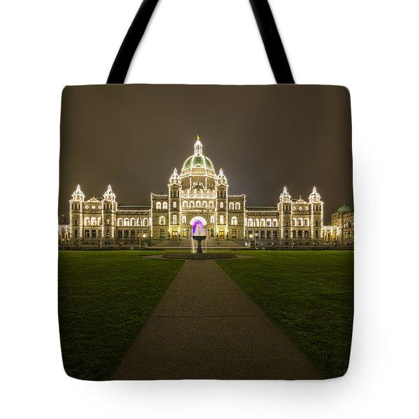 British Columbia Parliament Buildings At Night Tote Bag