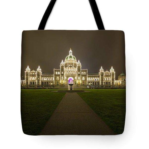 British Columbia Parliament Buildings At Night Tote Bag