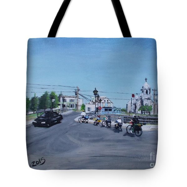 Family Cycling Tour Tote Bag by Francine Heykoop