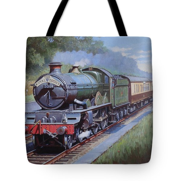Tote Bag featuring the painting  Castle Class In Sonning Cutting by Mike  Jeffries