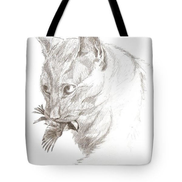 Cat And Chickadee Tote Bag