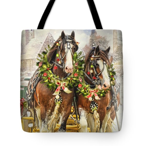 Tote Bag featuring the digital art  Christmas Clydesdales by Trudi Simmonds