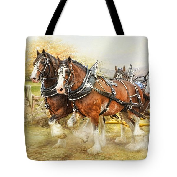 Clydesdales In Harness Tote Bag