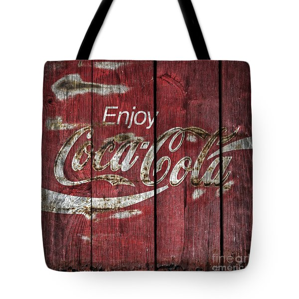 Coca Cola Sign Barn Wood Tote Bag