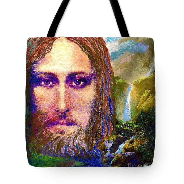 Tote Bag featuring the painting  Contemporary Jesus Painting, Chalice Of Life by Jane Small