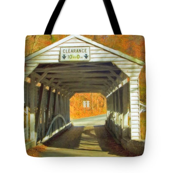 Tote Bag featuring the photograph  Covered Bridge Watercolor  by David Zanzinger