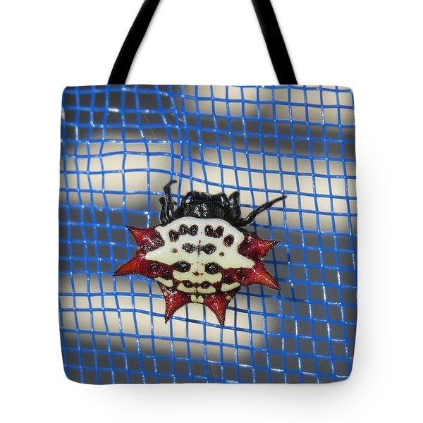 Tote Bag featuring the photograph  Crazy Crab Spider by Melinda Saminski