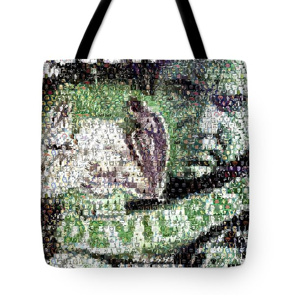 Tote Bag featuring the mixed media  Devil Bat Movie Poster Horror Mosaic by Paul Van Scott