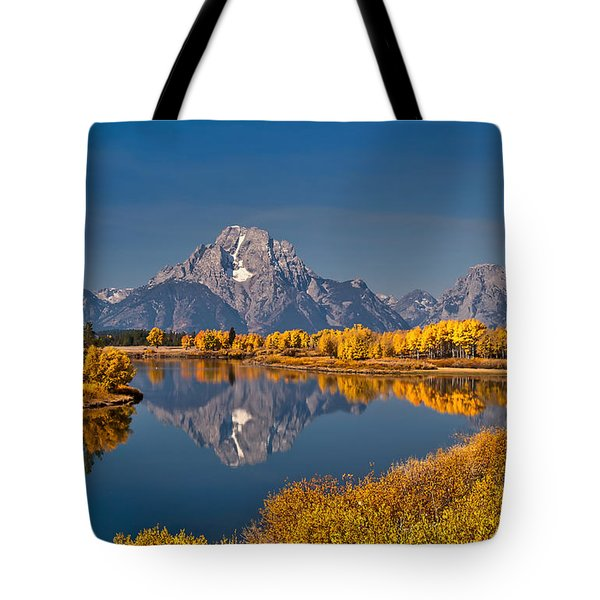 Fall Colors At Oxbow Bend In Grand Teton National Park Tote Bag by Sam Antonio Photography
