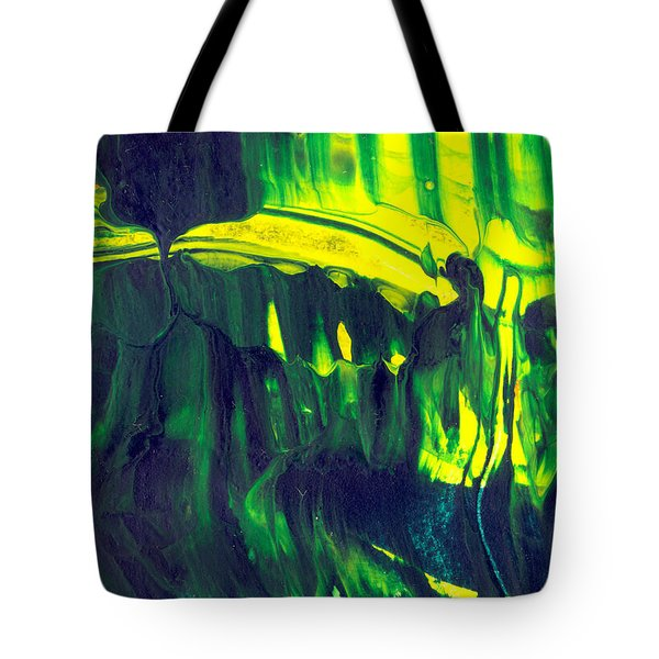 First Date - Green Abstract Mixed Media Painting Tote Bag