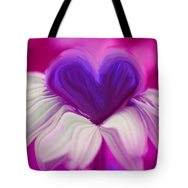 Tote Bag featuring the photograph  Flower Heart by Linda Sannuti