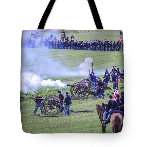 Gettysburg Union Artillery And Infantry 7439c Tote Bag
