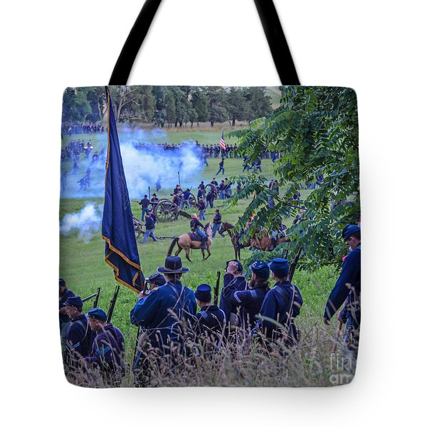 Gettysburg Union Artillery And Infantry 7459c Tote Bag