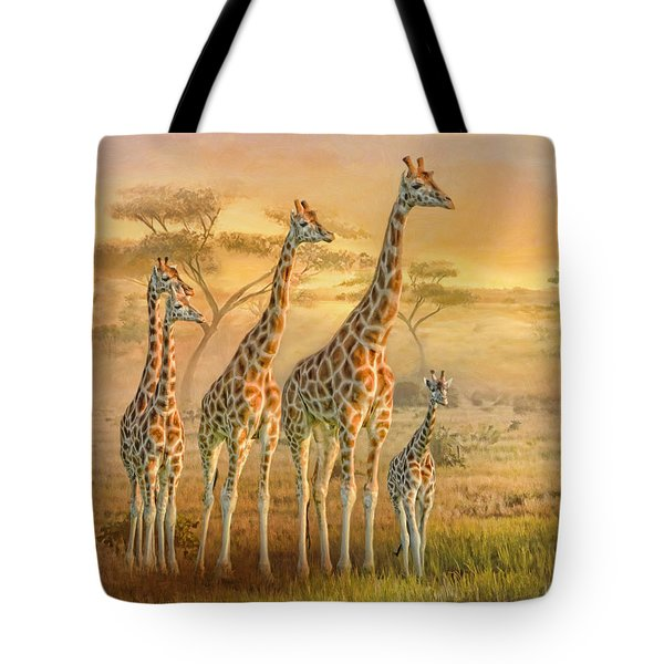 Giraffe Family Tote Bag