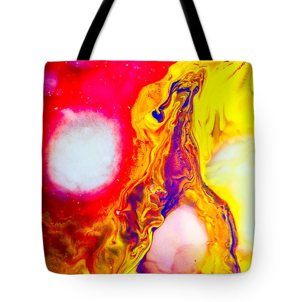 Giraffe In Flames - Abstract Colorful Mixed Media Painting Tote Bag by Modern Art Prints