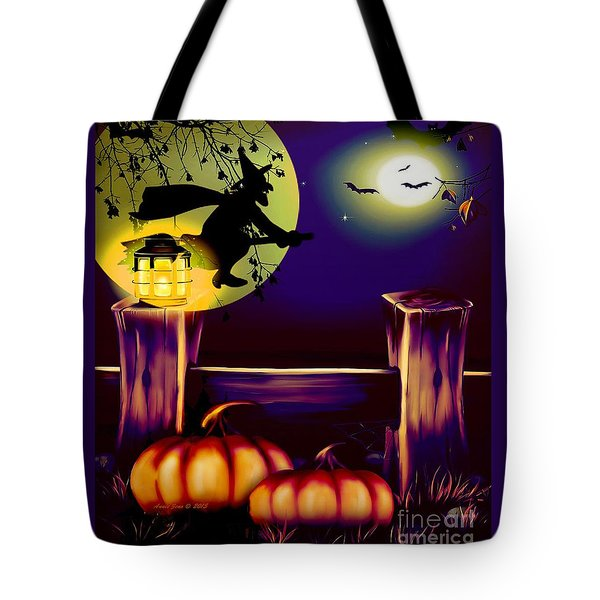 Halloween Witches Moon Bats And Pumpkins Tote Bag by Annie Zeno