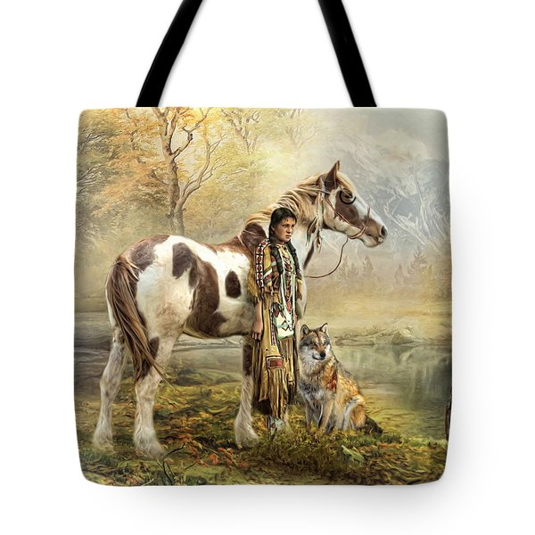 Tote Bag featuring the digital art  Indian Autumn by Trudi Simmonds