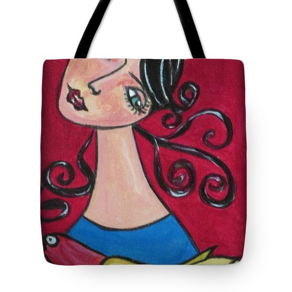 Lady And The Bird Tote Bag by Joyce Gebauer