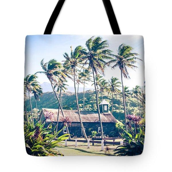Tote Bag featuring the photograph  Lanakila 'ihi'ihi O Iehowa O Na Kaua Church Keanae Maui Hawaii by Sharon Mau
