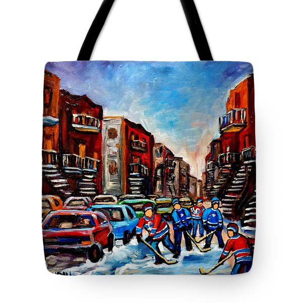 Late Afternoon Street Hockey Tote Bag by Carole Spandau