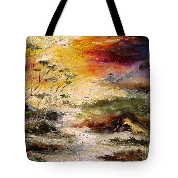 Tote Bag featuring the painting  Light Comes by Rushan Ruzaick